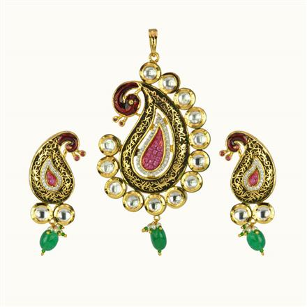 40164 Kundan Fusion Pendant Set with gold plating