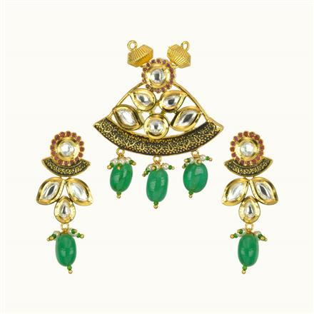 40165 Kundan Fusion Mangalsutra with gold plating