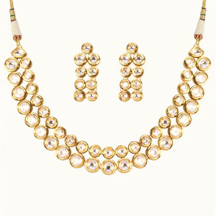 40172 Kundan Delicate Necklace with gold plating