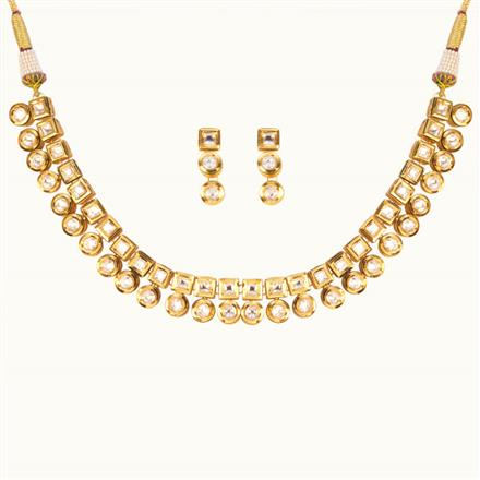 40174 Kundan Delicate Necklace with gold plating