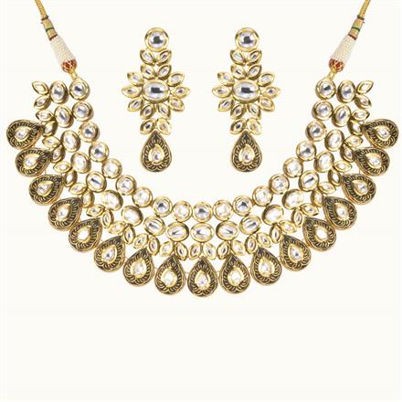 40175 Kundan Fusion Necklace with gold plating