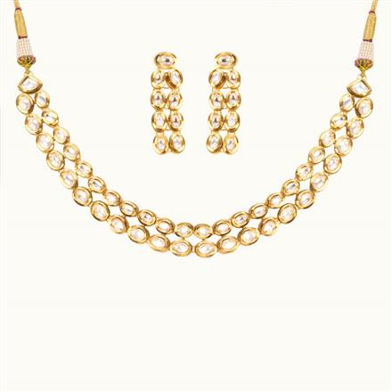 40177 Kundan Delicate Necklace with gold plating