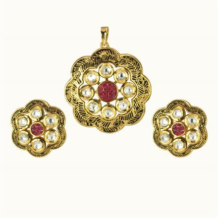 40182 Kundan Fusion Pendant Set with gold plating