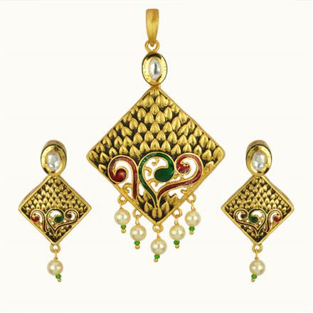 40184 Kundan Fusion Pendant Set with gold plating