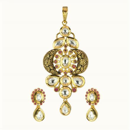 40186 Kundan Fusion Pendant Set with gold plating