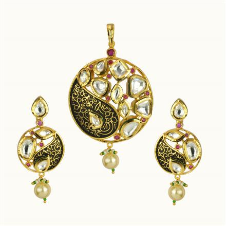 40187 Kundan Fusion Pendant Set with gold plating