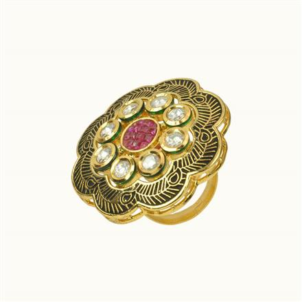 40188 Kundan Fusion Ring with gold plating