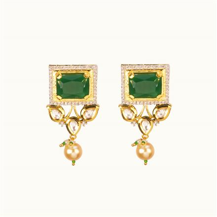 40191 Kundan Fusion Earring with gold plating