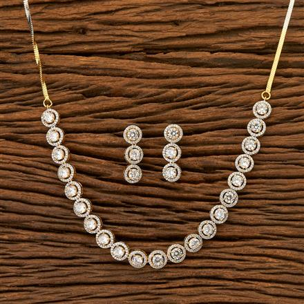 401921 Cz Classic Necklace with 2 Tone plating