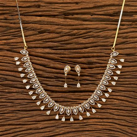 401924 Cz Classic Necklace with 2 Tone plating