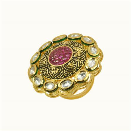 40192 Kundan Classic Ring with gold plating