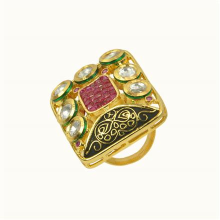 40194 Kundan Classic Ring with gold plating