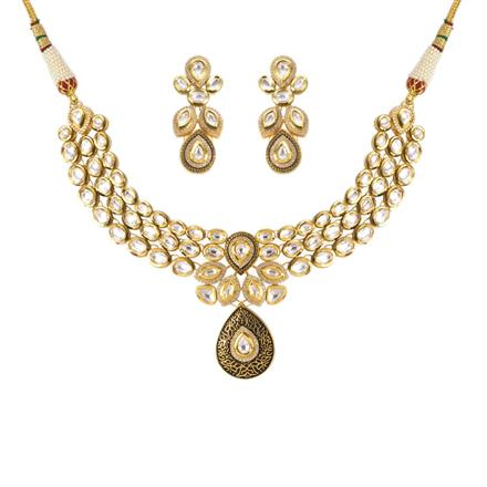 40195 Kundan Fusion Necklace with gold plating