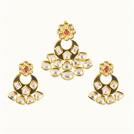 40199 Kundan Classic Pendant Set with gold plating
