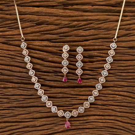 402009 Cz Classic Necklace with Rose Gold plating