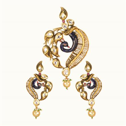 40200 Kundan Peacock Pendant Set with gold plating