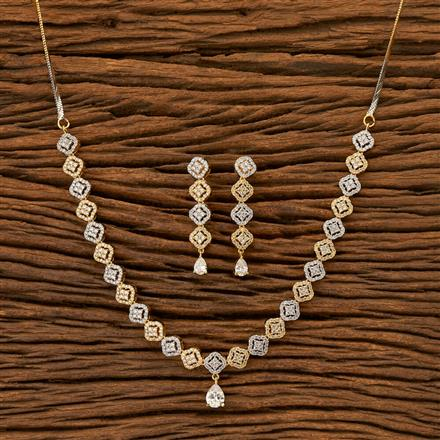 402010 Cz Classic Necklace with 2 Tone plating