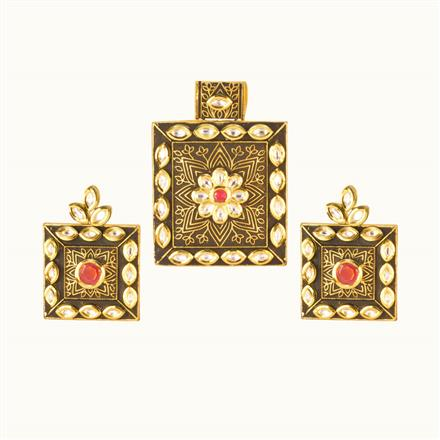 40201 Kundan Classic Pendant Set with gold plating