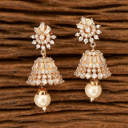 402031 Cz Jhumkis with Rose Gold plating