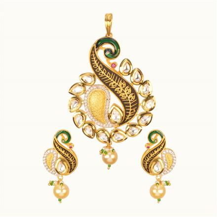 40203 Kundan Peacock Pendant Set with gold plating