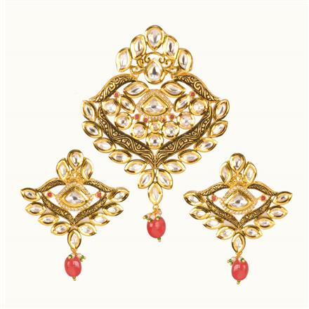 40204 Kundan Fusion Pendant Set with gold plating