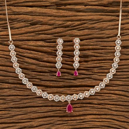 402057 Cz Classic Necklace with Rose Gold plating