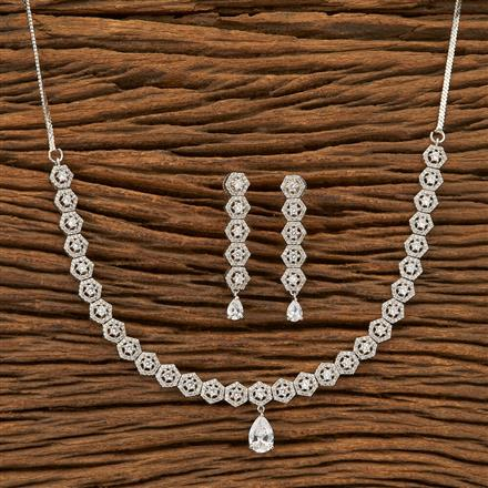 402058 Cz Classic Necklace with Rhodium plating