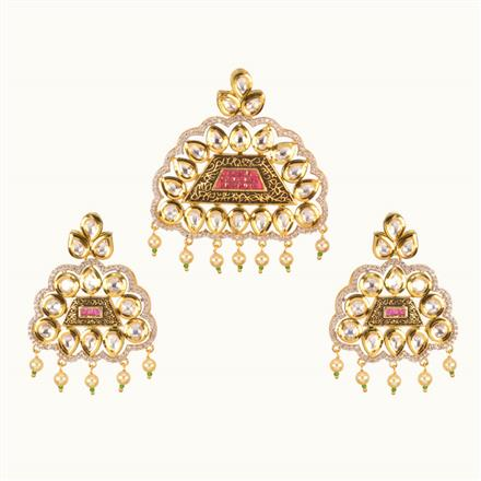 40209 Kundan Fusion Pendant Set with gold plating