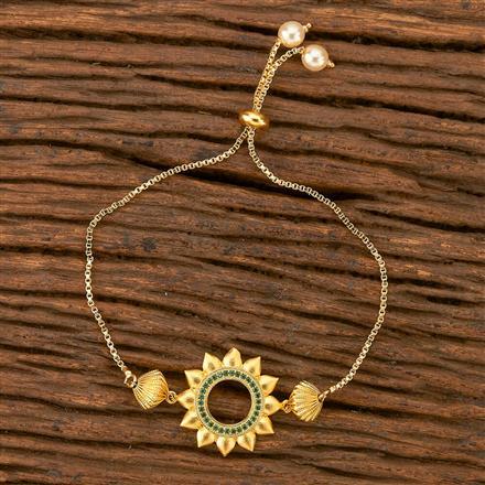 402308 Cz Adjustable Bracelet with gold plating