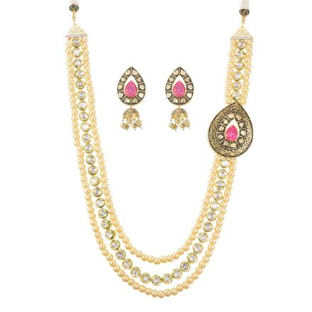 40235 Kundan Mala Necklace with gold plating