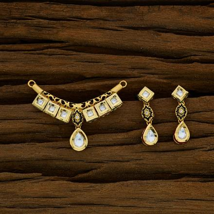 40274 Kundan Classic Mangalsutra with gold plating