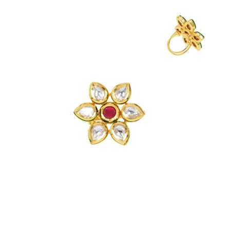 40279 Kundan Classic Ring with gold plating