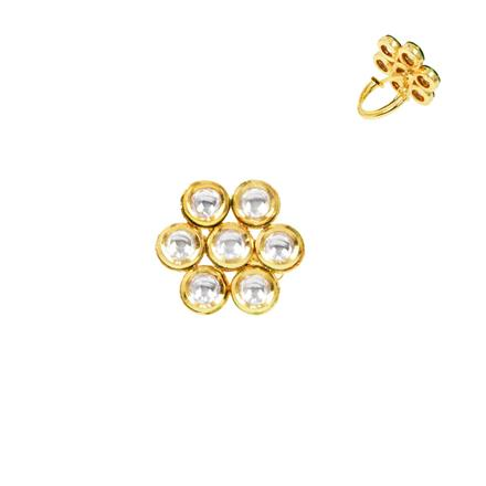 40280 Kundan Classic Ring with gold plating