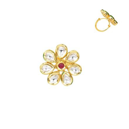 40281 Kundan Classic Ring with gold plating