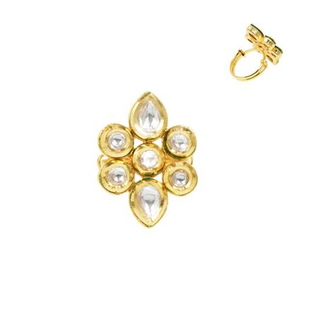 40284 Kundan Delicate Ring with gold plating