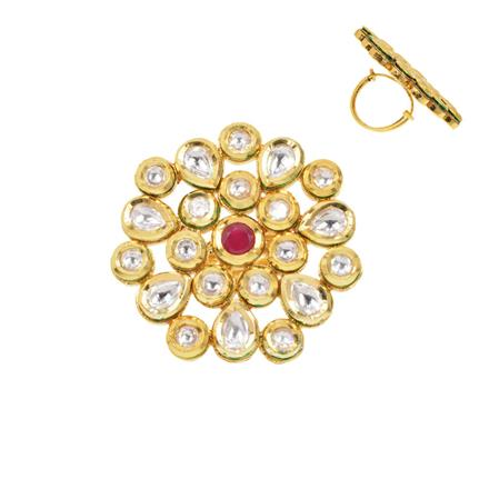 40285 Kundan Classic Ring with gold plating
