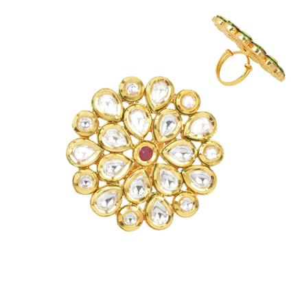 40287 Kundan Classic Ring with gold plating