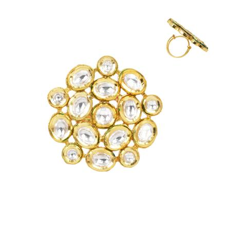 40289 Kundan Classic Ring with gold plating