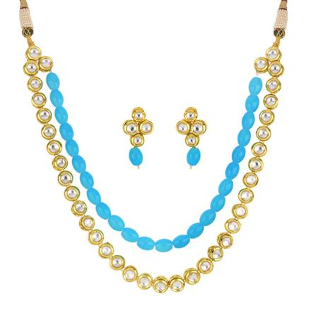 40293 Kundan Mala Necklace with gold plating
