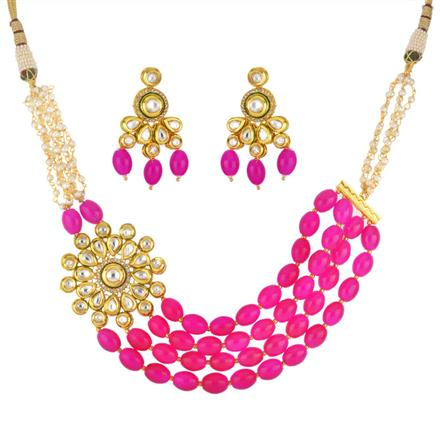 40294 Kundan Mala Necklace with gold plating