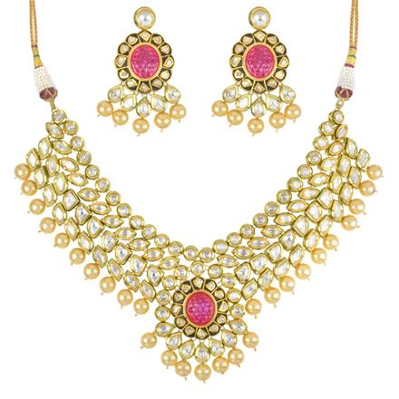40301 Kundan Classic Necklace with gold plating