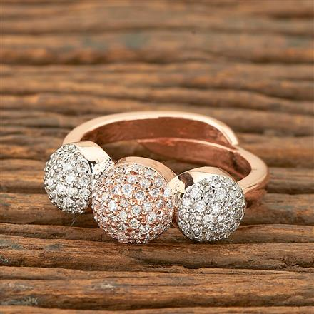 403232 Cz Delicate Ring with rose gold plating