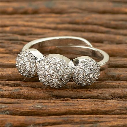 403233 Cz Delicate Ring with rhodium plating