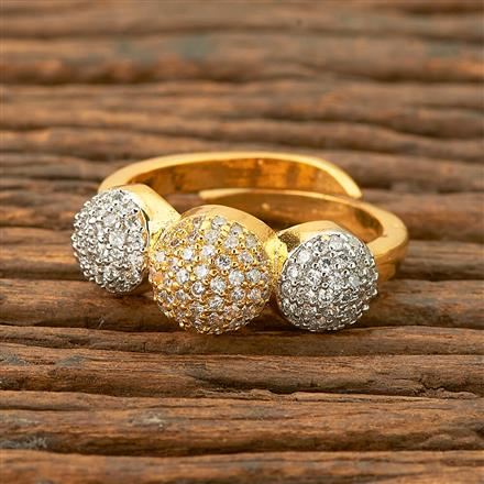 403234 Cz Delicate Ring with 2 Tone plating