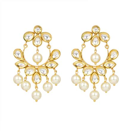 40339 Kundan Chand Earring with gold plating