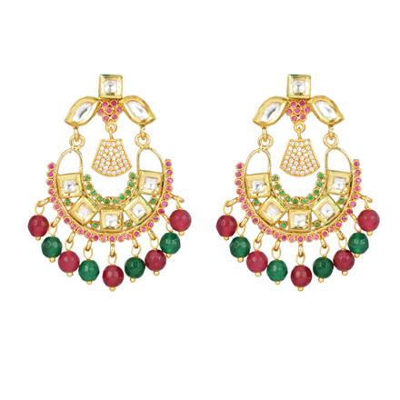 40340 Kundan Chand Earring with gold plating