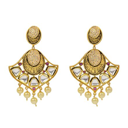 40346 Kundan Classic Earring with gold plating