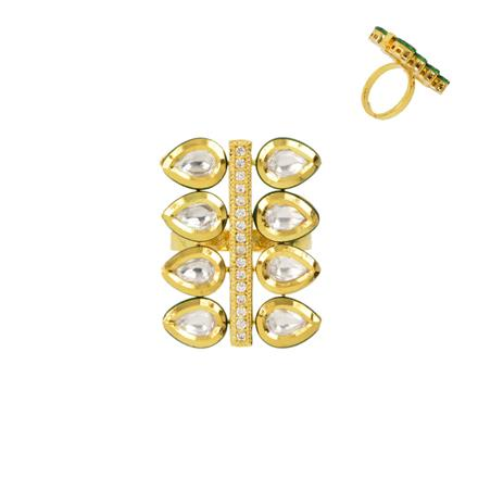 40347 Kundan Classic Ring with gold plating