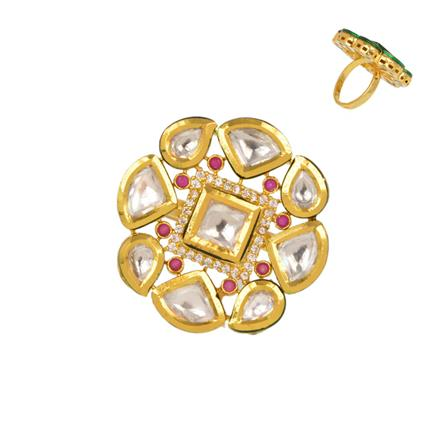 40348 Kundan Classic Ring with gold plating