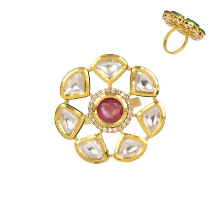 40349 Kundan Classic Ring with gold plating